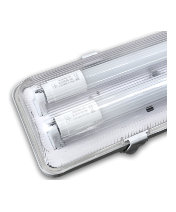 Pantalla estanca ip 65 para 2 tubo de led de 1 20 for Led per interni